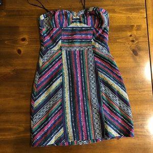 Aztec print strapless mini dress UO